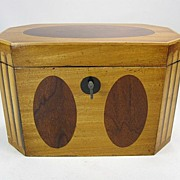 Satinwood & Mahogany Regency Tea Caddy, Original Lock and Key