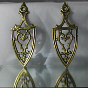 SALE Vintage Pair Brass Miniature Trivets Stands with Hearts