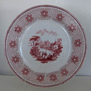 "Staffordshire Sirius Red Transfer 9"" Plate James & Thomas Edwards 1840"