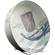 SALE Japanese Imari Porcelain Bowl Hokusai Print of Fishermen ca 19th c.