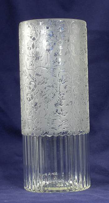Paden City Spring Orchard Glass Vase Etched Birds