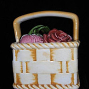 SALE Sarreguemines French Faience Majolica Cookie Jar Basket with Roses