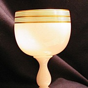 SALE White French  Opaline Glass Stemmed Goblet Gold Trim ca 1900