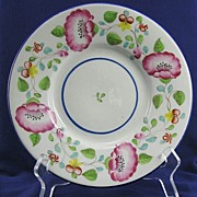 SALE New Hall Porcelain Bone China Dish Pat 1571 Staffordshire Pink Mallow Flowers Yellow & Pu