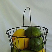SALE Antique Wire Basket 19th c. Bail Handle