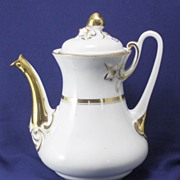 SALE Porcelain White and Gold Band Tea Pot Wedding Band with Fruit Finial