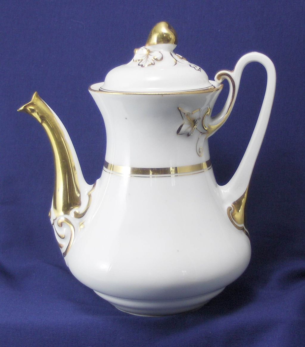 Porcelain White and Gold Band Tea Pot Wedding Band with Fruit Finial