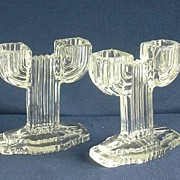 SALE Hocking Queen Mary Pair Art Deco Glass Candlesticks  ca.1930s
