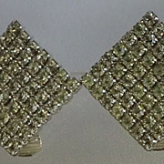 Pair Crystal Rhinestone Pave Earrings Diamond Shape