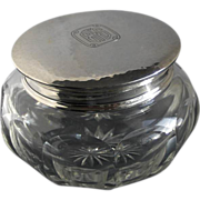 Kerr Sterling Silver Vanity Jar Large Cut Glass  Arts & Crafts