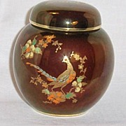 SALE Carlton Ware Rouge Royale Ginger Jar with Golden Pheasant Hand Enameled