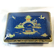 Carlton Ware Micado Blue Lustre Luster Box New Micado England