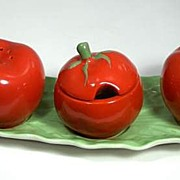 Carlton Ware Tomato Condiment Set Figural Four Piece Leaf Tray Salt Pepper Mustard