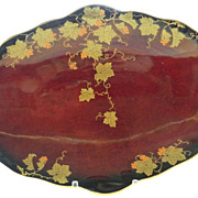 Crown Devon Fielding's Ruby Lustrine Oval Dish Gold Leaf Vines