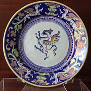 SALE Alberto Rubboli Italy Copper Luster Majolica Plate Blue & White with Griffin Eagle & Sala