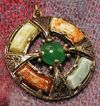 Scottish Faux Agate Glass Stones Medallion in Silver Tone Setting