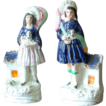 Pair Staffordshire Figurines Prince & Princess Royal with King Charles Spaniel Dogs ca. 1850