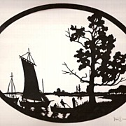 Hans Brasch Scherenschnitte Boats on River Autumn ca 1920 Germany Silhouette Paper-Cutting