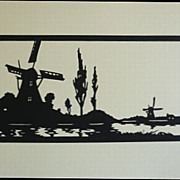 Scherenschnitte Hans Brach Riverscape with Windmills Germany 1920s Paper-cut