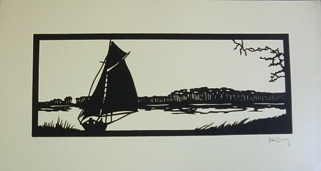 Scherenschnitte Hans Brach Sailboat on the River Paper-cutting Germany 1920s