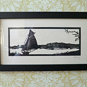Framed Scherenschnitte Hans Brach Sailboat on the River Paper-cutting Germany 1920s