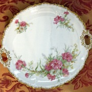 SALE Limoges Pouyat Porcelain Pink Carnation Cake Plate Gold Trim ca. 1900 Factory Decorated