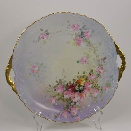 Moritz Zdekauer MZ Austria Cake Plate Hand Painted Roses Porcelain 11&quot;  ca 1900