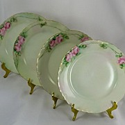 SALE Haviland Limoges Hand Painted Roses Set of 4 Dessert Plates