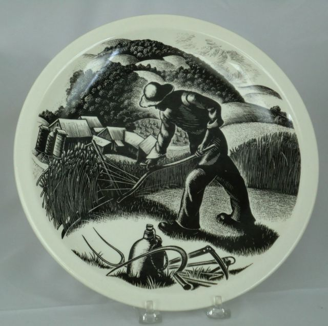 "Wedgwood Clare Leighton FARMING Plate 10 ½""  New England Industries c.1952"