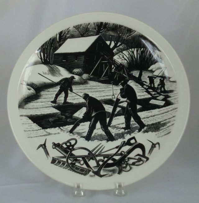 "Wedgwood Clare Leighton  ICE CUTTING Plate 10 ½"" Queens Ware New England Industries c.1952"