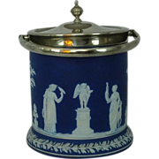 SALE Wedgwood Blue Jasper Ware Biscuit Jar Cookie Jar Laurel Foot Silver Fittings ca. 19th c.