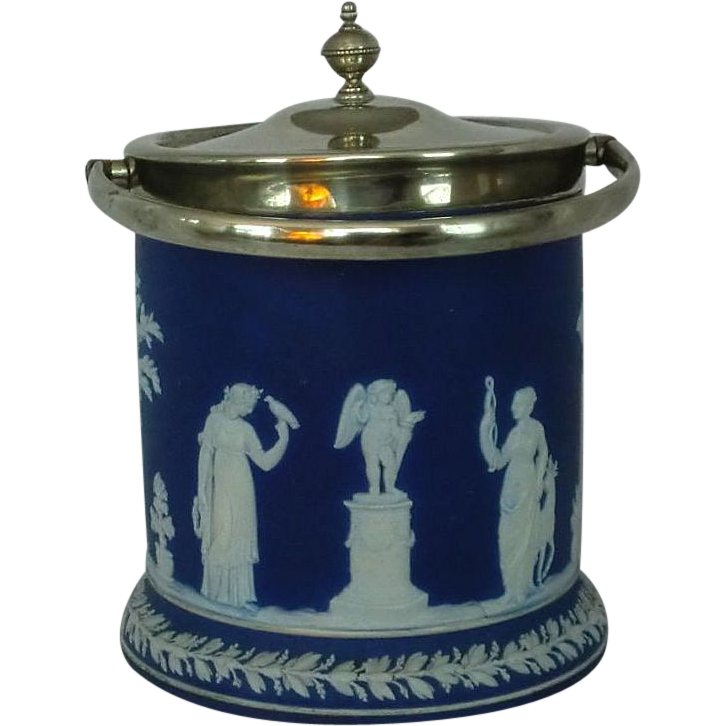 Wedgwood Blue Jasper Ware Biscuit Jar Cookie Jar Laurel Foot Silver Fittings ca. 19th c.