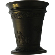 SALE Wedgwood Black Basalt Flared Vase Greek Scenes Offering to Peace 6 �� H ca. 1850