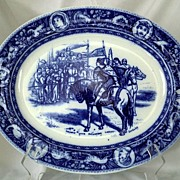 "SALE Wedgwood Ivanhoe Flow Blue Platter 14 1/2"" Prince John & Locksley Aesthetic Movement"