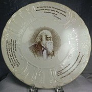"SALE Wedgwood Poet & Heroes 8 1/2"" Plate William Cullen Bryant 1894 England"