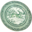 "Wedgwood Green Rabbit Plate 9"" ca. 1879 Zig Zag Border"