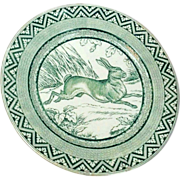SALE Wedgwood Green Rabbit Plate 9&quot; ca. 1879 Zig Zag Border