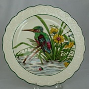 Wedgwood Standing Kingfisher Bird Plate Painted and Printed ca 1927 Queensware
