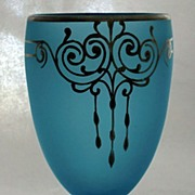 Tiffin's Sky Blue Satin Glass Silver Overlay Goblet Candy Jar ca 1925