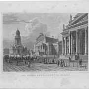 "J.M.Kolb Steel Engraving ""Der Gensdarmen Markt in Berlin"",19th c. Germany"