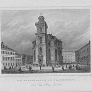 "Joh.  Poppel ""Die Paulskirche in Frankfurt"" Steel Engraving  St Paul's Church German"