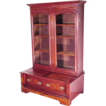 Walnut Victorian 2 Door Bookcase with Large Bowed Base