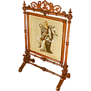 Victorian Beaded Needlepoint Fire Screen with Harp