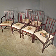 Set of 6 Hepplewhite Chairs with Line Inlay and Needlepoint Seats