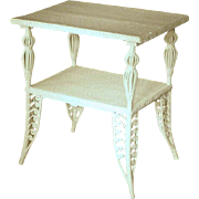 White Wicker Victorian Table