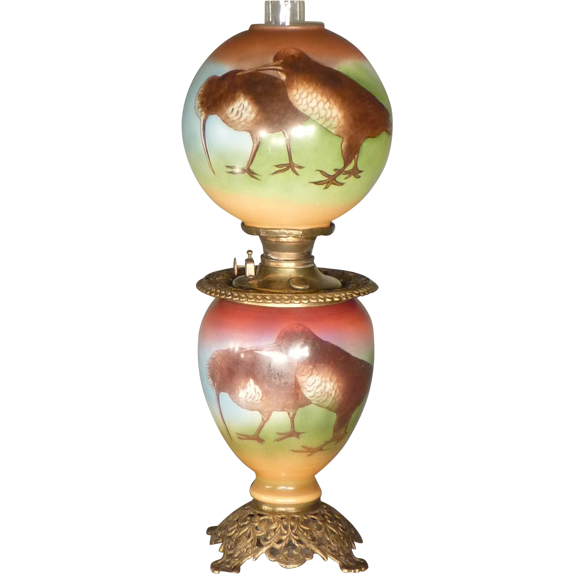 Victorian Kerosene Parlor Lamp with Woodcock