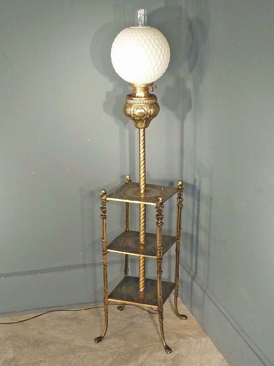 Victorian Piano, Floor Lamp with Shelves from antiquesonhanover on