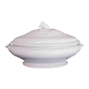 Small White Ironstone Tureen Bell Flower Pattern by John Edwards c. 1866