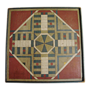 Colorful Painted Folk Art Parcheesi Game Board Mid to Late 20th c.