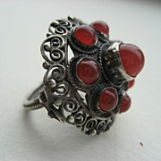 "Old ""800 Silver"" and Carnelian Pinky Ring"